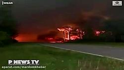 آتش سوزي گسترده فلوريدا و تخليه منازل