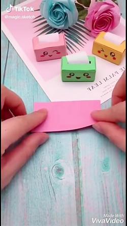 اموزش ساخت جعبه دستمال کاغذی مینیاتوری برای عروسک
