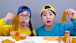 چالش غذا خوری | چالش خوردن خوراکی های نارنجی