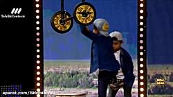 اجرای مهدی ستایش فرد (گروه ستایش) با موتور روی طناب در قسمت 15 عصر جدید 2