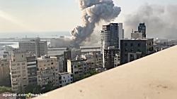 ویدیویی وحشتناک با صحنه آهسته از لحظه انفجار در بیروت و خرابیهای موج انفجار