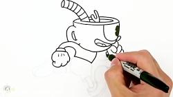 نقاشی و رنگ امیزی کاپ هد cuphead در حال دویدن برای کودکان