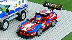 ماشین بازی قسمت 98 - لگو اتومبیل - کامیون کمپرسی - ماشین پلیس - وسایل بازی