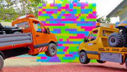 اسباب بازی کودکانه/ماشین بازی/تصادف با دیوار/تعمیر ماشین ها/کامیون/جرثقیل/بالابر