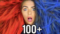 چالش رنگ کردن مو با اسپری رنگ