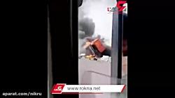 تصادف وحشتناک در جاده سیرجان / راننده ها هردو در آتش سوختند