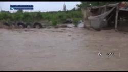 جاری شدن سیلاب در شهرستان میامی