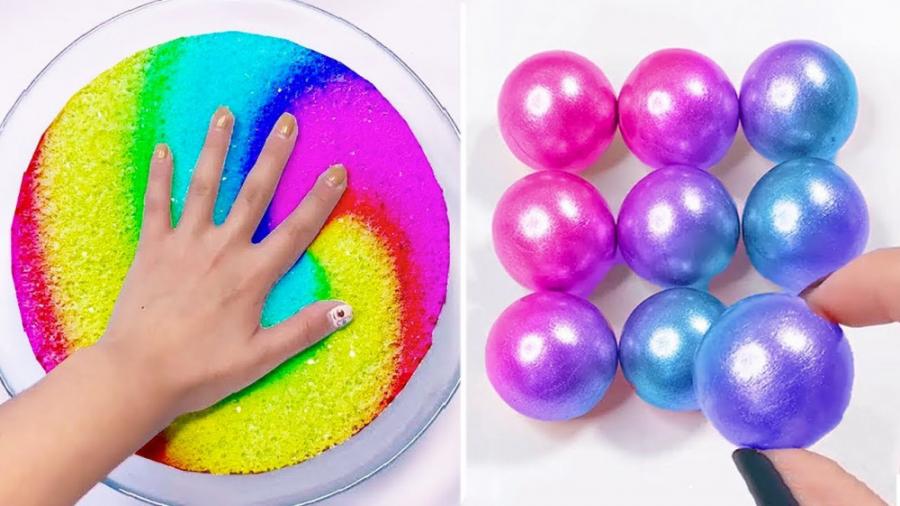 اسلایم اسمر سرگرمی - بازی با اسلایم های رنگی