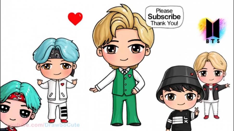 نقاشی کاراکتر V از گروه BTS