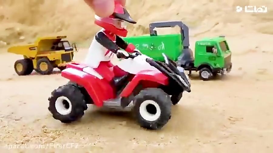 فیلم ماشین بازی کودکانه پل سازی با ماشین های سنگین