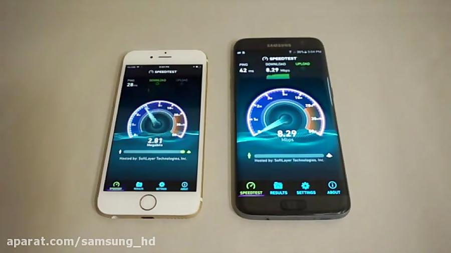 تصویر از دانلود ویدیو تست سرعت اینترنت سامسونگ اس 7 اج و ایفون 6 اس از سایت فود کوک