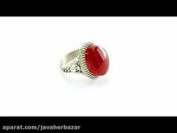 انگشتر عقیق یمنی سرخ مردانه رکاب دست ساز - کد 12937