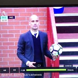 درگیری گواردیولا با مربی ویگان در بین دو نیمه بازی جام حذفی