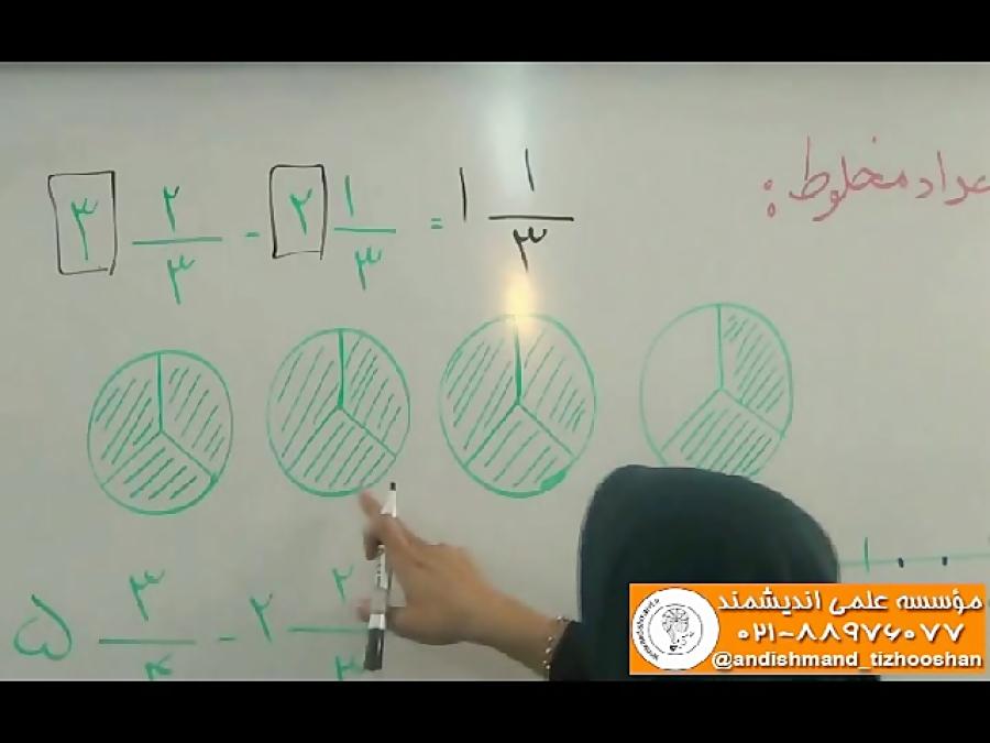 تفریق اعداد مخلوط - تدریس
