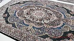 فرش ماشینی سنتی-فرش یاسمن سرمه ای کاشان