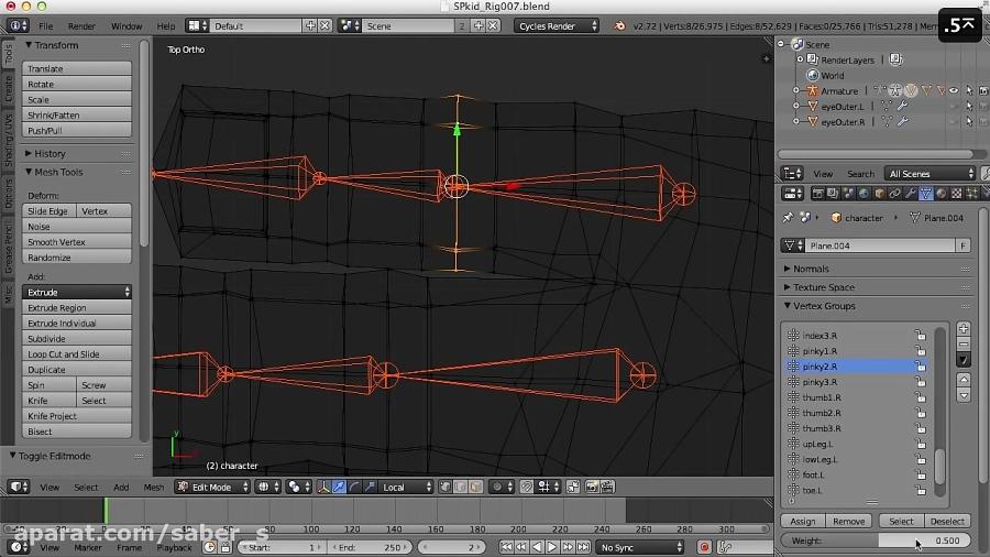 Blender Character Modeling 10 Of 10 : Blender character rigging of