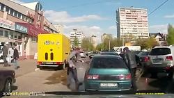 دعوا و درگیری عجیب و ترسناک دو راننده ترک و روس در جاده