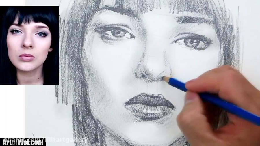 آموزش طراحی چهره یک زن با مداد