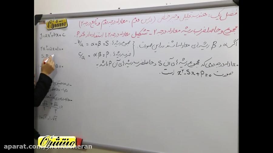 مسئله-ریشه-های-معادله-درجه2-تدریس-منتشران