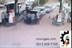 انفجار منبع کپسول گاز ماشین در پمپ گاز