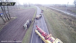 US army convoy sticks in mud in Poland