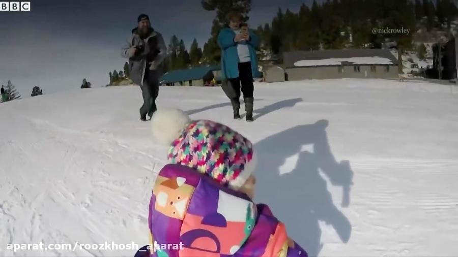 اسنوبورد حیرت انگیز نوزاد یک ساله /ماجراجویی در کوهستان