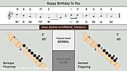تولدت مبارک (Happy Birthday to You)  آموزش فلوت ریکوردر