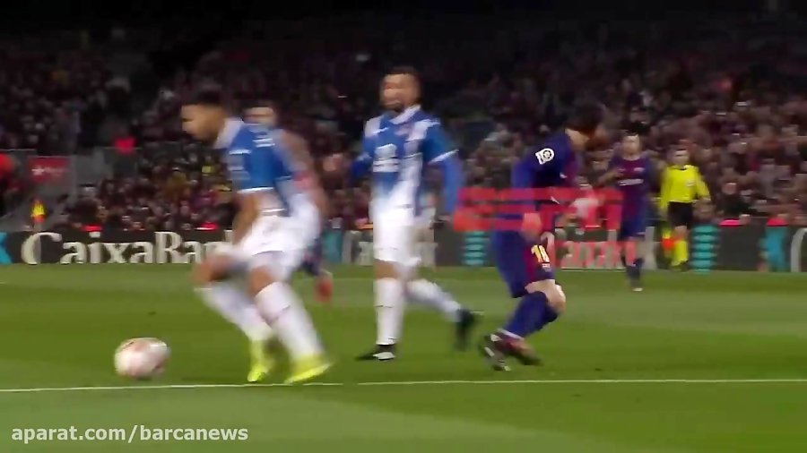 حرکت زیبای مسی از وسط 6 بازیکن اسپانیول