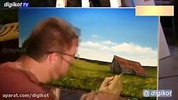 نقاشی کلبه در طبیعت