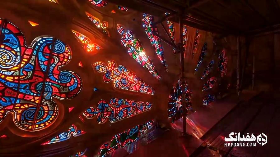 بازی زیبای رنگ و نور در کلیسای ملی واشنگتن
