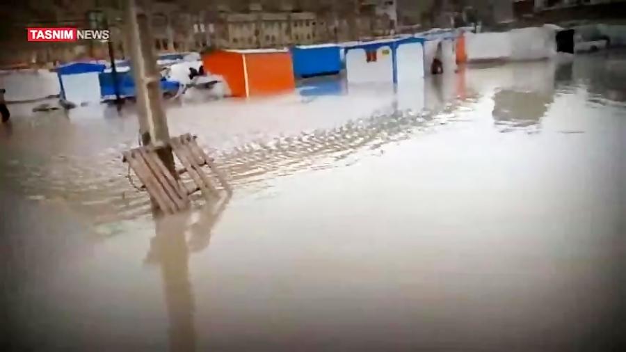 آبگرفتگی کانکسهای زلزله زدگان در شهر سرپل ذهاب
