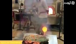 آشپزی عجیب کباب کردن گو...