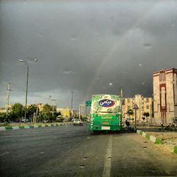 یه روز قشنگ بارونی بهمراه رنگین کمانی زیبا در شاهرود