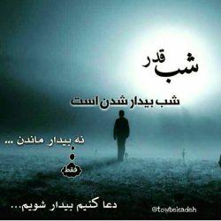 شب قدر...شب بیدار شدن است...نه بیدار ماندن...فقط دعا کنیم بیدار شویم...:'(