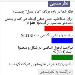 برای حمایت از برنامه ی ماه عسل به آدرس زیر برید و به این برنامه رای بدید.با تشکر www.khabaronline.ir