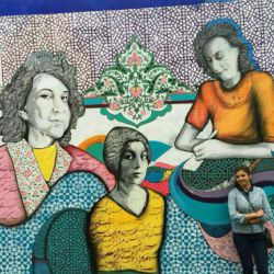 دیواری در( سانفرانسیسکو) با تصویری از سه زن ادیب ایرانی : سیمین بهبهانی ،  سیمین دانشور ، و فروغ فرخزاد .
