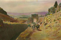 نمایی از تنگه الله اکبر  و دروازه قرآن شیراز ۱۹۲۰میلادی