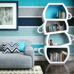 استفاده عالی از طیف رنگ آبی در کنار یک طرح خلاقانه برای کتابخانه