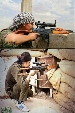 زن مبارز علیه داعش