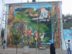 تندیس هنر - نقاشی دیواری - استاد امیر باغانی - نقاشی ضامن آهو سبزوار