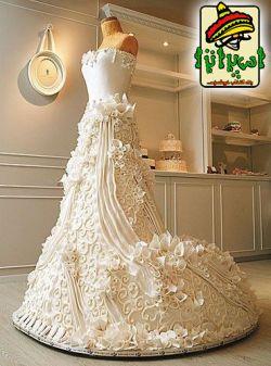 عکس های خوشمزه - کیک مدل لباس عروس