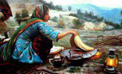 نقاشی بسیار زیبا از بانوی بختیاری در حال پخت نان محلی بختیاری(تیری)