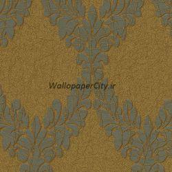 کاغذ دیواری داماسک طلایی و قهوه ای