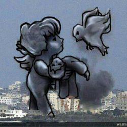 بمباران غزه توسط اسراییل.  یک هنر مند از دود حاصل از انفجار این استفاده زیبا و پر معنا داشتند. اصل عکس هم میفرستم. . .