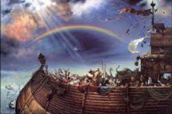 ورداشته واسه اسب و خر و گوسفندو شتر کشتی ساخته، اونوخت واسه من یه دوچرخه نخریده!! . . . . . . . . . . . ..  پسرنوح در حال درد و دل کردن با بدان!!!!....