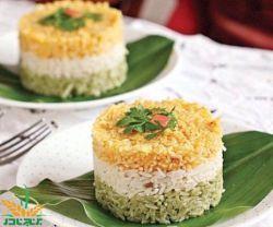 تزئین برنج به صورت سه رنگ
