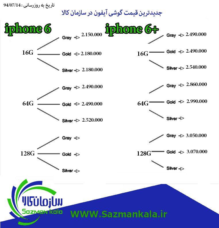 قیمت گوشی اپل آیفون 6 و 6پلاس در سازمان کالا www.sazmankala.ir 02166704470