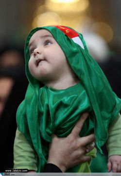 The first Friday of Muharram in Iran and other countries be held annual commemoration meeting. In this ceremony mothers along with their sucklings, receive the presented cloths in the beginning of their arrival (Alavi's green gown and scarf and the forehead band of Ya Sahebazzaman) will start the mourning of six month immolate of Karbala on the day of Ashura.