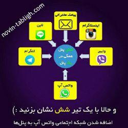 و حالا با یک تیر ۶ نشان بزنید ؛) اضافه شدن شبکه اجتماعی واتس آپ به پنل ها #تبلیغات #نوین_تبلیغ #وایبر #واتس_آپ #واتس_اپ #تلگرام #اینستاگرام #لاین #پیامک #شبکه_های_اجتماعی #نرم_افزار_پر_طرفدار