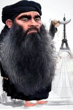 کاریکاتوری از بزرگمهر حسین پور در مورد اتفاقات اخیر فرانسه
